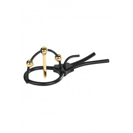 MyStim Plunging Pete Silicone Penis Head Strap with gold-plated balls and urethral probe