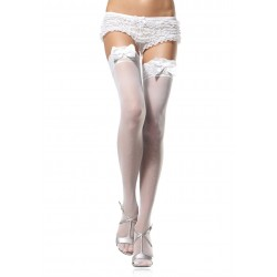 Leg Avenue THIGH HIGHS W SATIN BOW WHITE - ONE SIZE