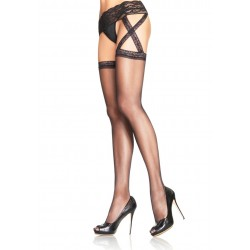 Leg Avenue CRISS CROSS GARTERBELT STOCKING - ONE SIZE